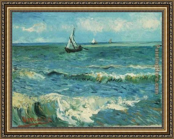 Vincent van Gogh Seascape at Saintes Maries 1 Framed Painting