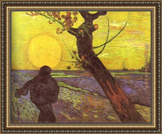 Vincent van Gogh Sower with Setting Sun After Millet Framed Painting