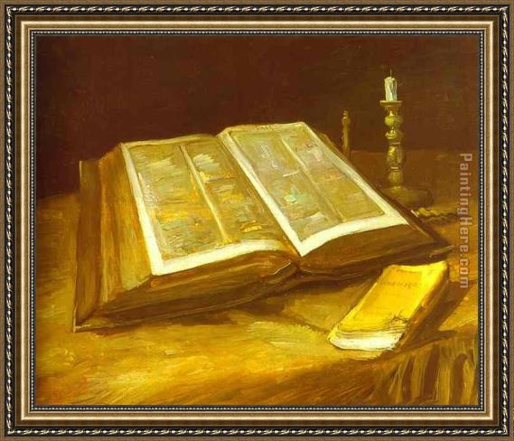 Vincent van Gogh Still Life with Open Bible Framed Painting