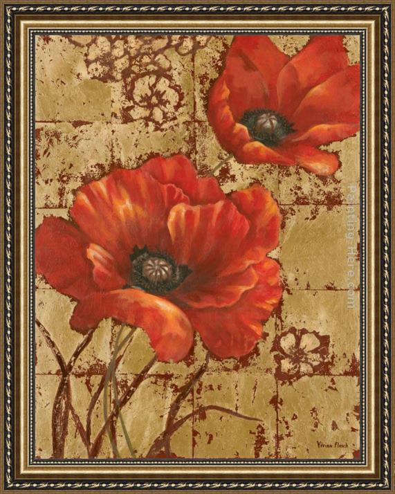 Vivian Flasch Poppies on Gold I Framed Painting