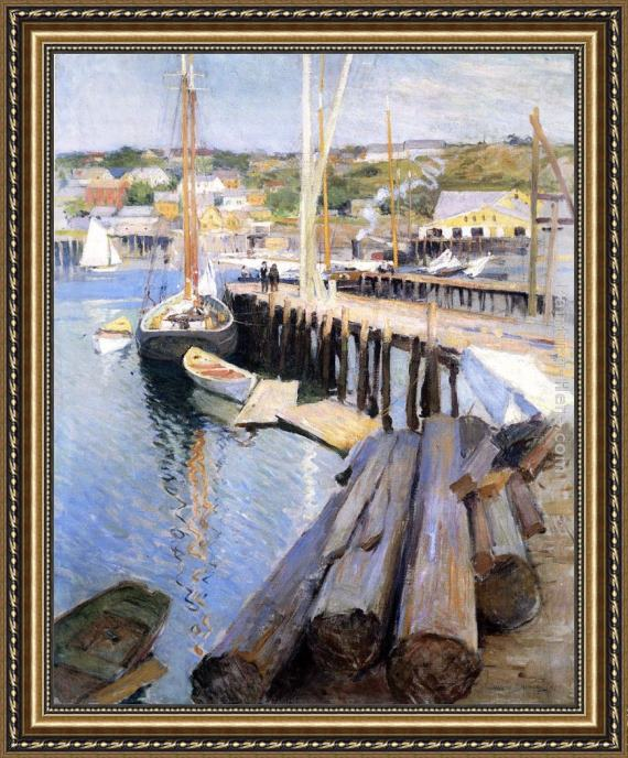 Willard Leroy Metcalf Fish Wharves - Gloucester Framed Painting