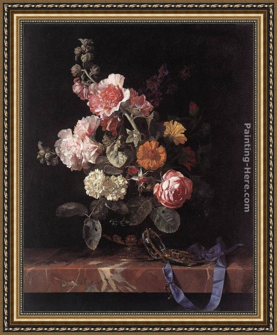 Willem van Aelst Vase of Flowers with Watch Framed Painting