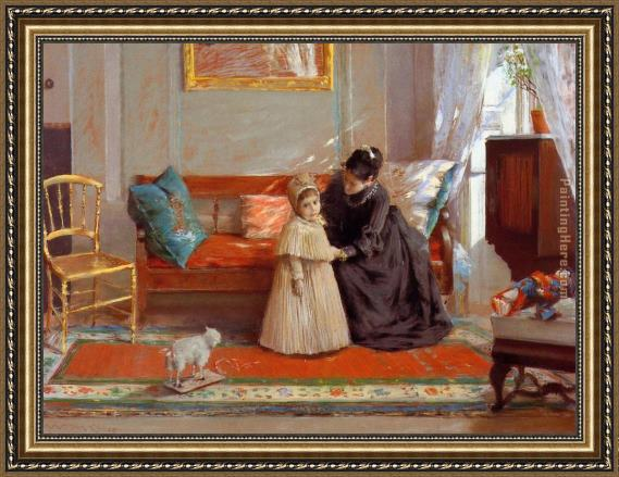 William Merritt Chase I am Going to See Grandma Framed Painting