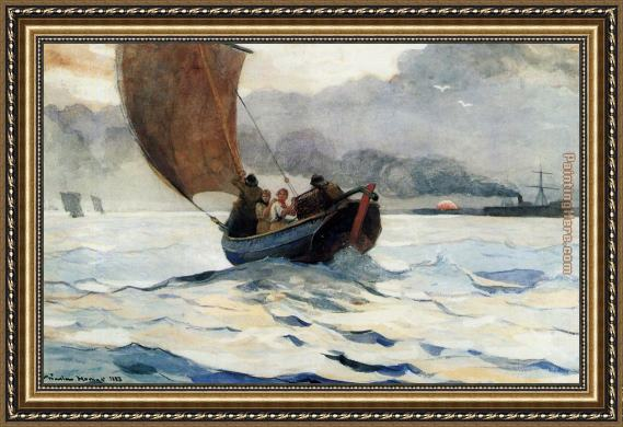 Winslow Homer Returning Fishing Boats Framed Painting