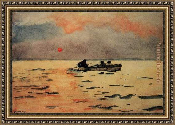 Winslow Homer Rowing Home Framed Painting