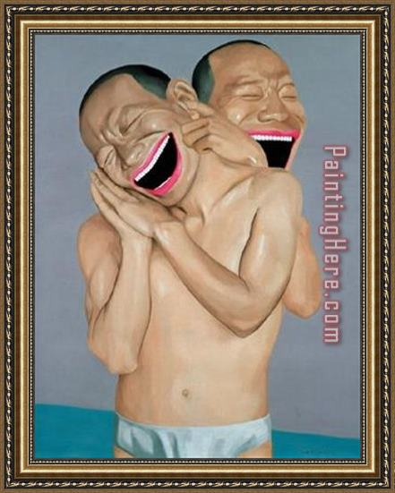 Yue Minjun Relationship Series No Two Framed Painting