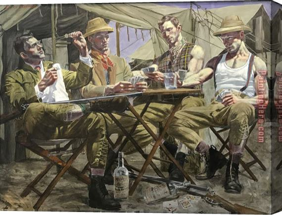 2017 new Bruce Sergeant Card Players Stretched Canvas Painting