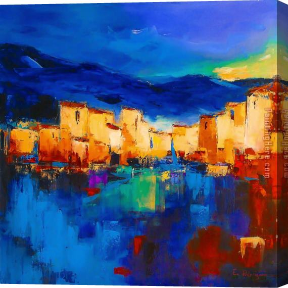 2017 new Sunset Over The Village Stretched Canvas Painting
