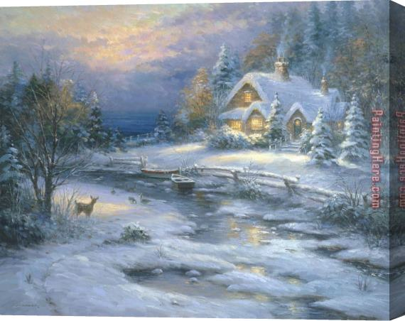 2017 new Winter Cottage Stretched Canvas Painting