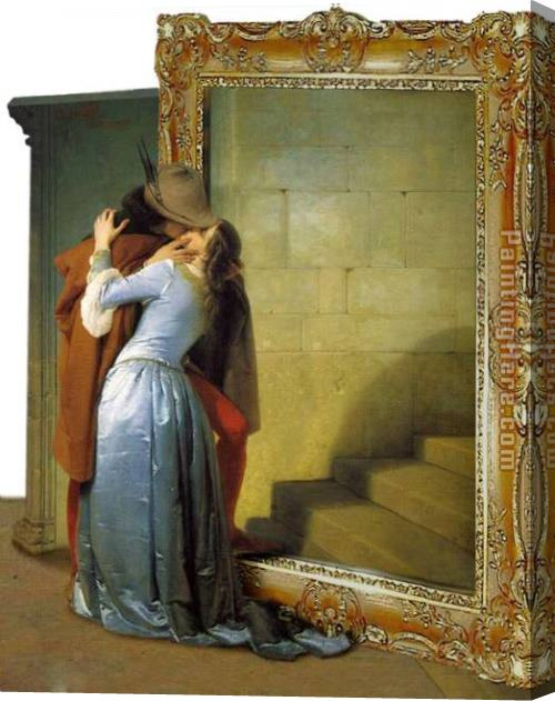 3d art The Kiss by arturojm Stretched Canvas Painting for