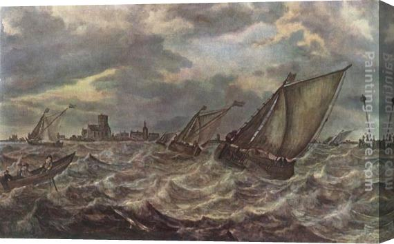 Abraham van Beyeren Rough Sea Stretched Canvas Painting