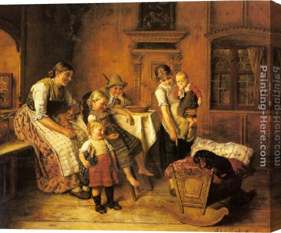 Adolf Eberle The Intruder Stretched Canvas Painting