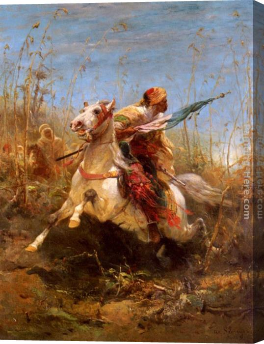 Adolf Schreyer Arab Warrior Leading A Charge Stretched Canvas Painting