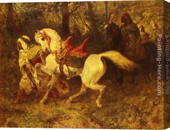 Adolf Schreyer On The March Stretched Canvas Painting