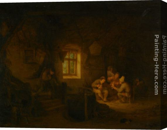 Adriaen van Ostade A Tavern Interior with Peasants Drinking Beneath a Window Stretched Canvas Painting