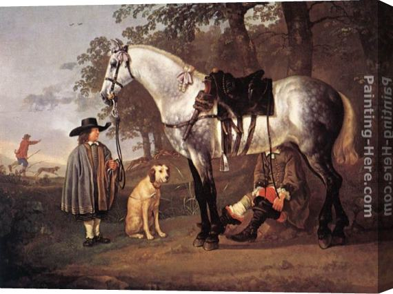 Aelbert Cuyp Grey Horse in a Landscape Stretched Canvas Painting