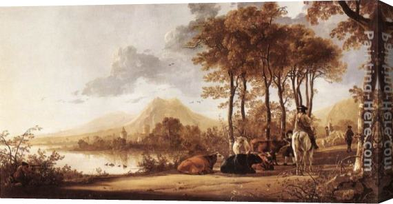 Aelbert Cuyp River Landscape Stretched Canvas Painting