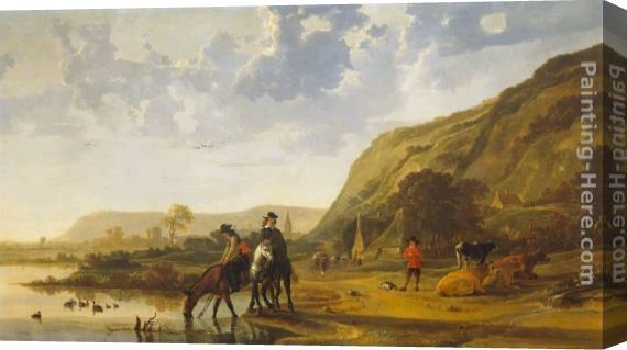 Aelbert Cuyp River Landscape with Riders Stretched Canvas Painting