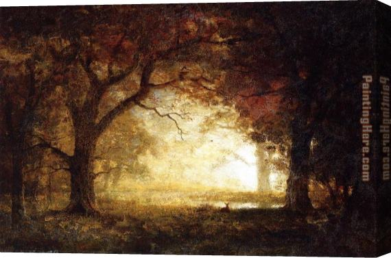 Albert Bierstadt Forest Sunrise Stretched Canvas Painting