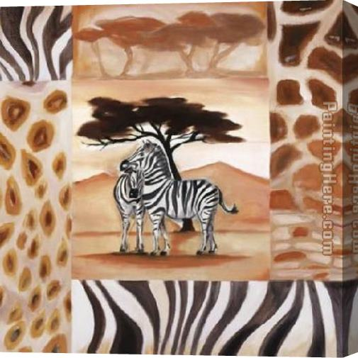 Alfred Gockel Animals of the Veldt - Zebras Stretched Canvas Painting