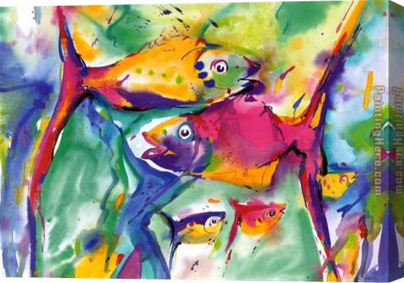 Alfred Gockel Colorful Fish Stretched Canvas Painting