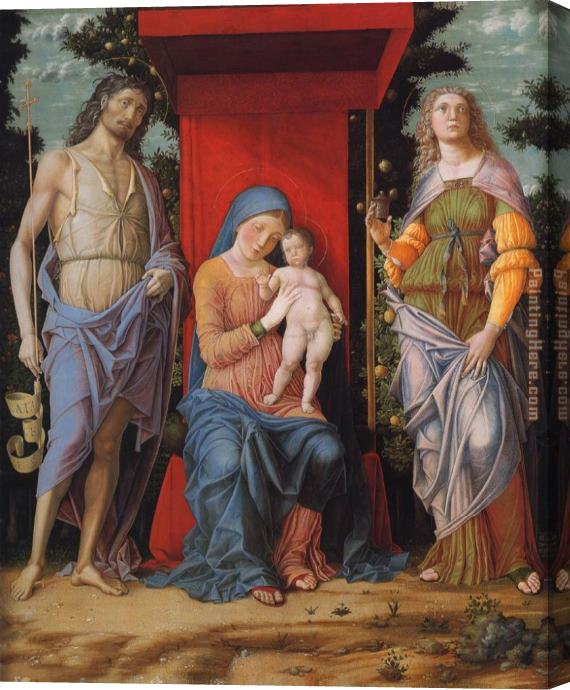 Andrea Mantegna Virgin and child with the Magdalen and St John the Baptist Stretched Canvas Painting