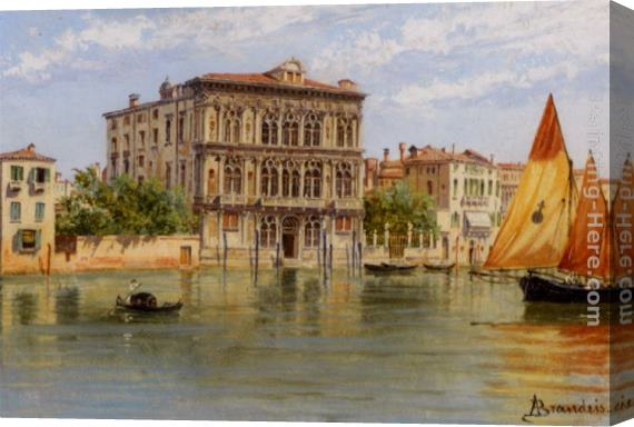 Antonietta Brandeis Palazzo Camerlenghi and the Ca Vendramin Calergi in Venice Stretched Canvas Painting