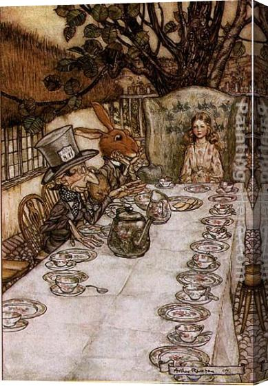 Arthur Rackham Alice in Wonderland A Mad Tea Party Stretched Canvas Painting
