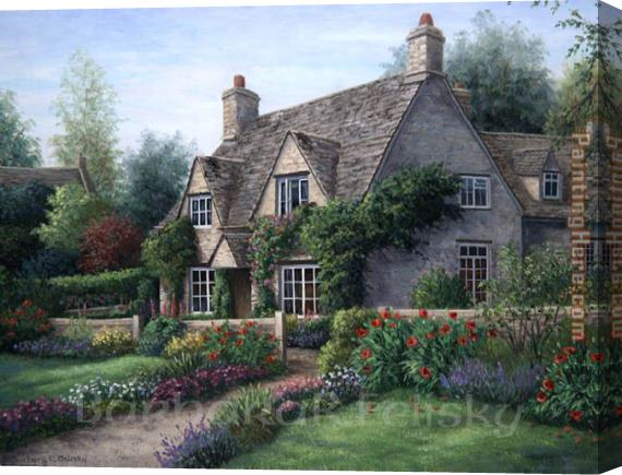 Barbara Felisky Poppy Cottage Stretched Canvas Painting
