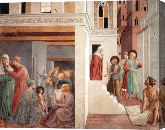 Benozzo di Lese di Sandro Gozzoli Scenes from the Life of St Francis (Scene 1, north wall) Stretched Canvas Painting