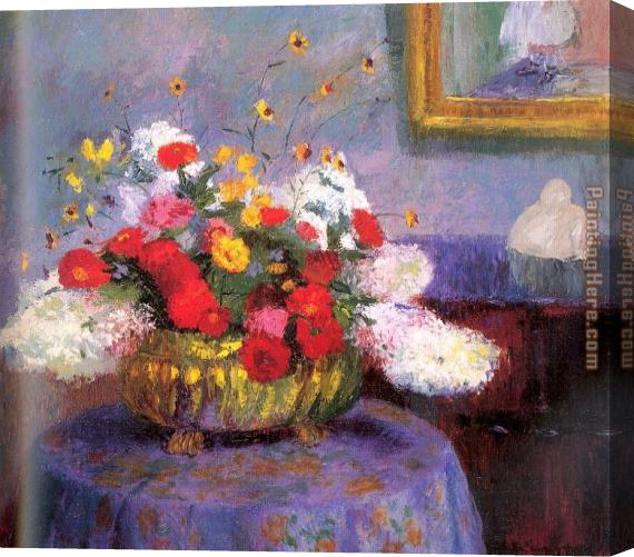 Bernhard Gutmann Still Life Round Bowl with Flowers Stretched Canvas Painting