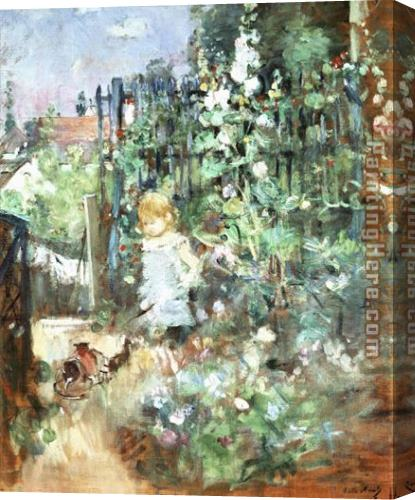 Berthe Morisot Child among Staked Roses Stretched Canvas Painting