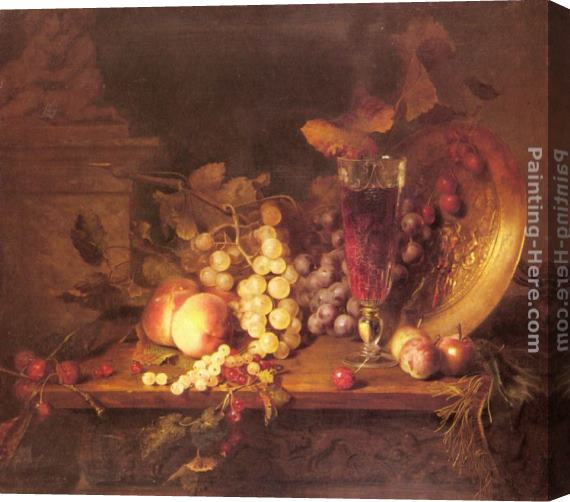 Blaise Alexandre Desgoffe Still Life with Fruit, a Glass of Wine and a Bronze Vessel on a Ledge Stretched Canvas Painting