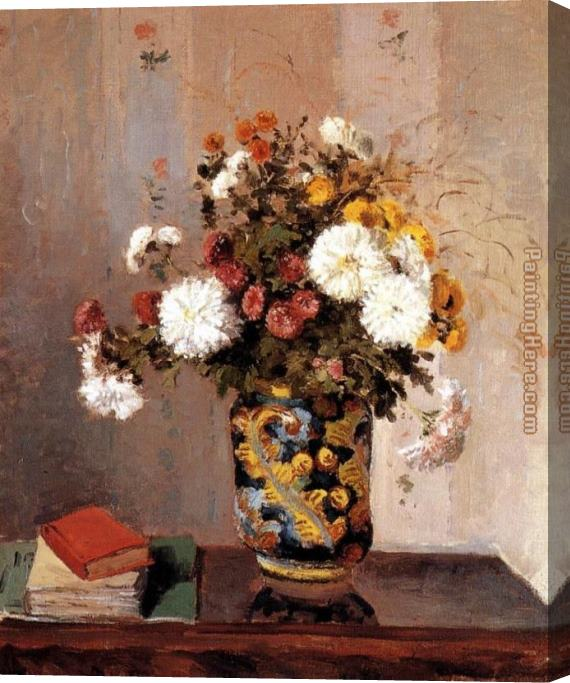 Camille Pissarro Chrysanthemums In A Chinese Vase Stretched Canvas Painting