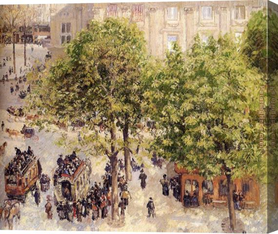 Camille Pissarro Place du Theatre Francais Stretched Canvas Painting