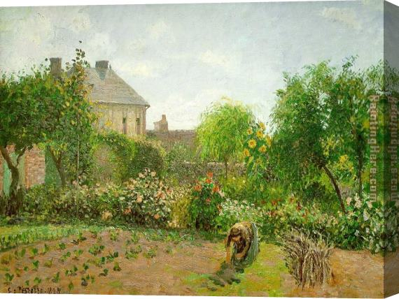 Camille Pissarro The Artist's Garden at Eragny Stretched Canvas Painting