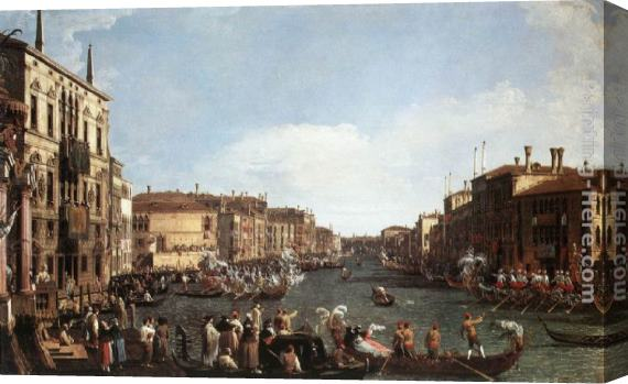 Canaletto Regatta on the Grand Canal Stretched Canvas Painting
