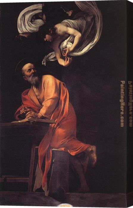 Caravaggio The Inspiration of Saint Matthew Stretched Canvas Painting