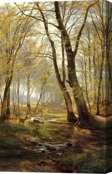 Carl Fredrik Aagard A Woodland Scene With Deer Stretched Canvas Painting