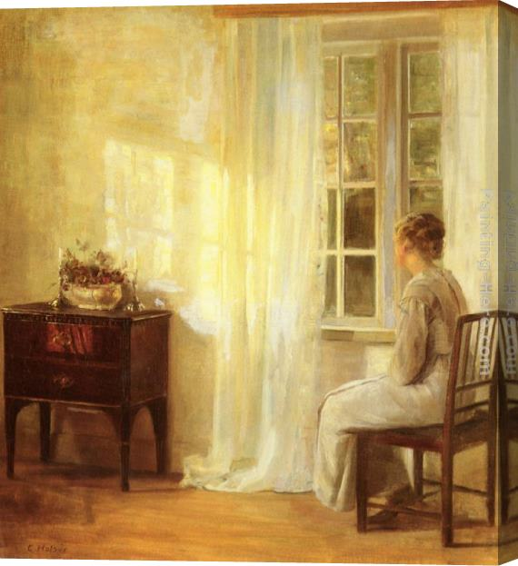 Carl Vilhelm Holsoe Waiting By The Window Stretched Canvas Painting