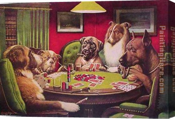 Cassius Marcellus Coolidge Dogs Playing Poker Stretched Canvas Painting