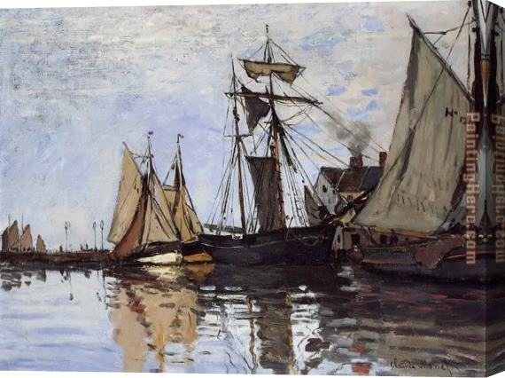 Claude Monet Boats in the Port of Honfleur Stretched Canvas Painting