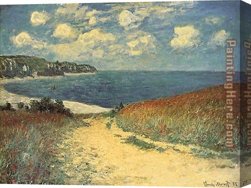 Claude Monet Chemin dans les Bles a Pourville Stretched Canvas Painting