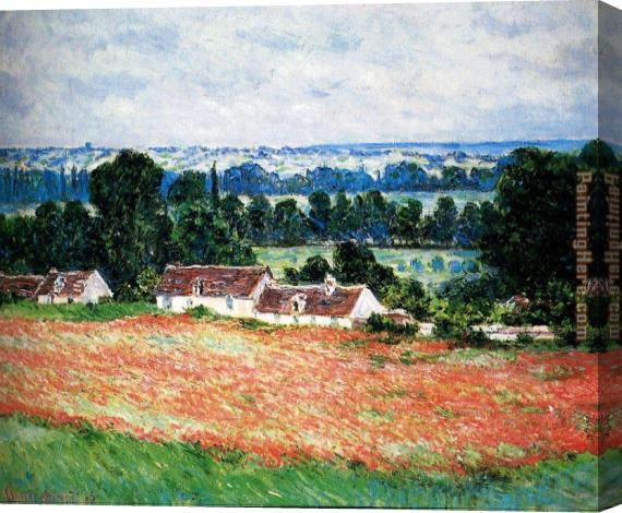 Claude Monet Field Of Poppies, Giverny Stretched Canvas Painting