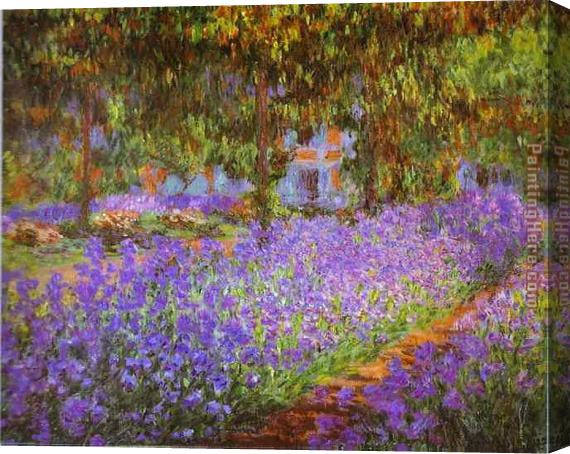 Claude Monet Irises in Monet's Garden Stretched Canvas Painting