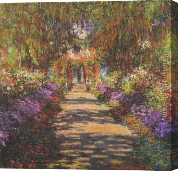 Claude Monet Main Path through the Garden at Giverny Stretched Canvas Painting