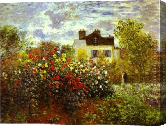 Claude Monet Monet's Garden at argenteuil Stretched Canvas Painting