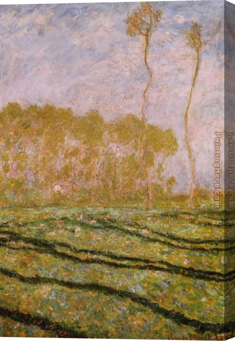 Claude Monet Springtime Landscape at Giverny Stretched Canvas Painting