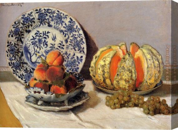 Claude Monet Still Life With Melon Stretched Canvas Painting