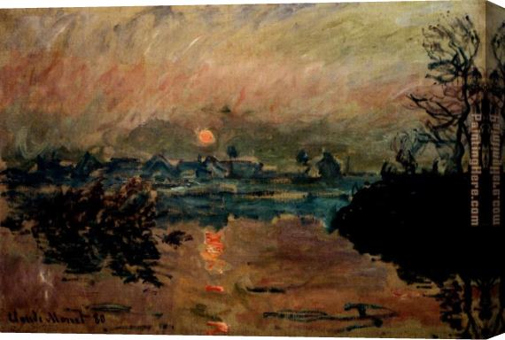 Claude Monet Sunset Stretched Canvas Painting